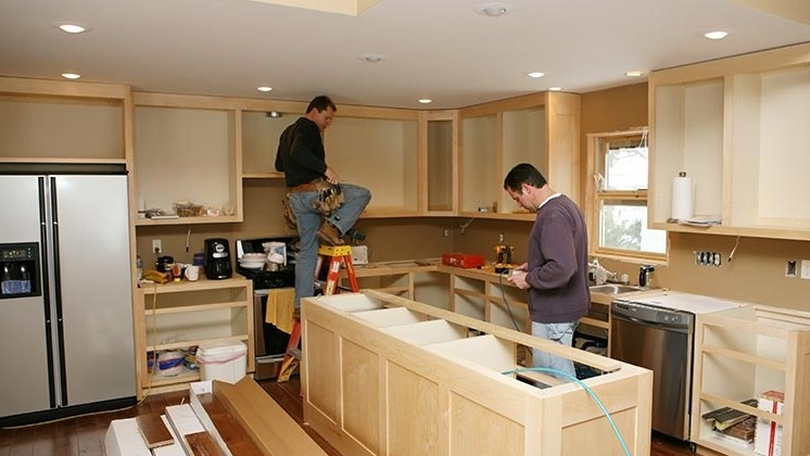 Builders remodeling a kitchen in Memphis