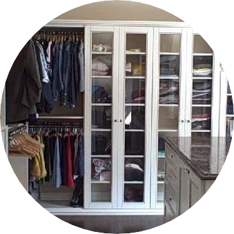 Walkin Closet - Glass Doors - Granite Top Island