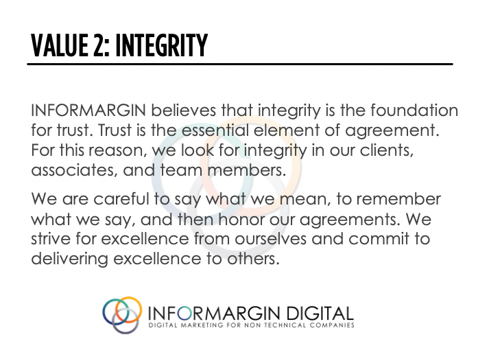 Informargin Value #2 Integrity