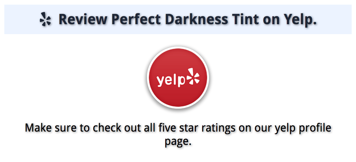 About Perfect Darkness Tint on Yelp