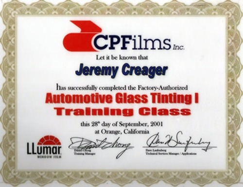CPFilms Automotive Glass Tinting 1 Training Class