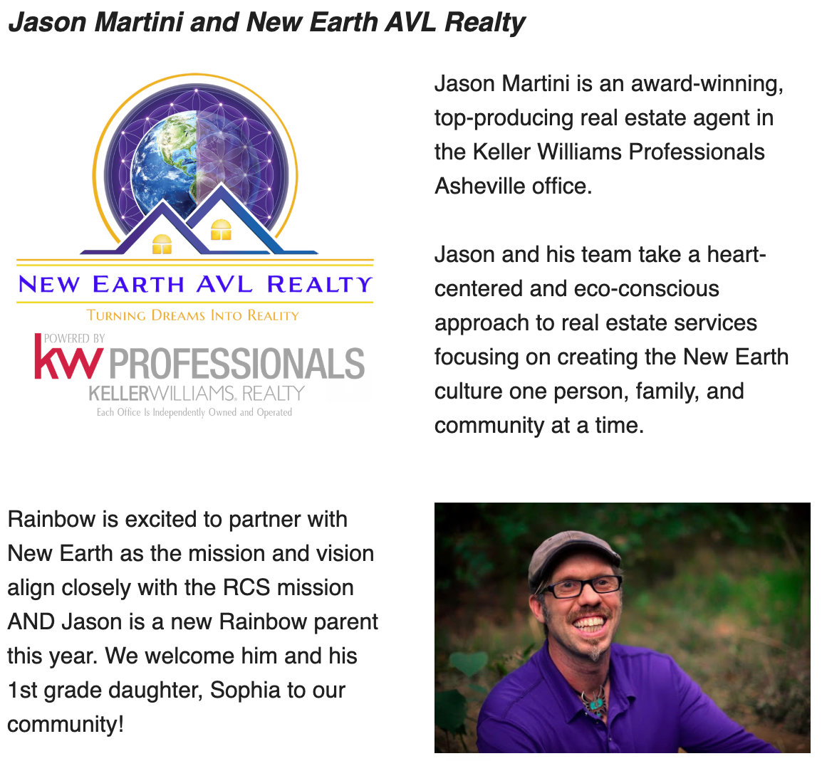 New Earth AVL Realty and Jason Martini is Acknowledged By Rainbow Community School As A Sponsor