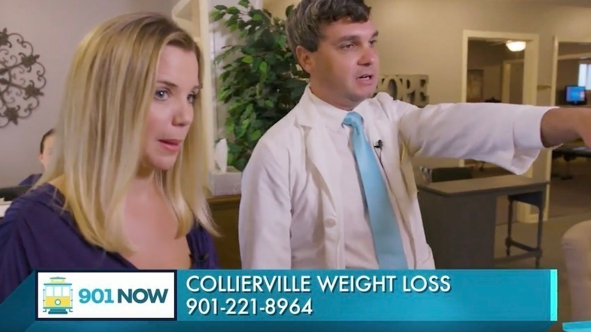 Lauren Lee and Dr. Keith Amodeo at Collierville Weight Loss lobby