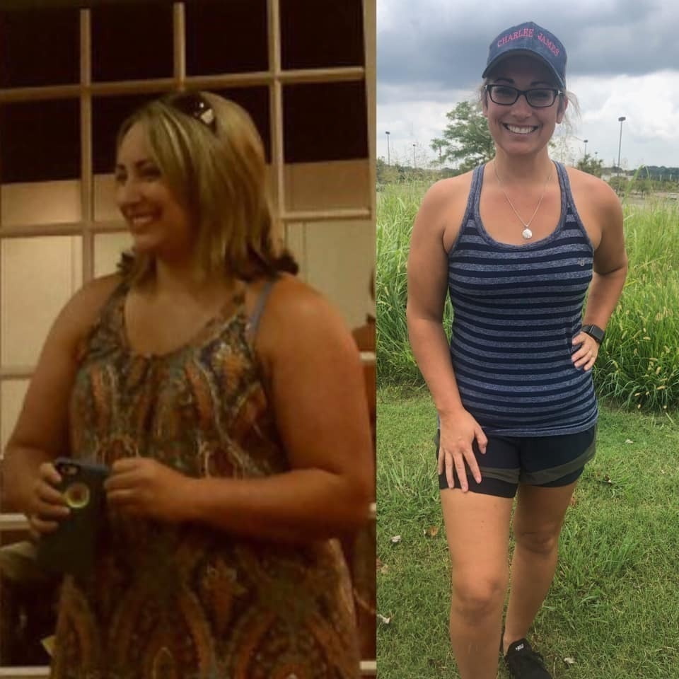 Tabitha shows her before and after weight loss