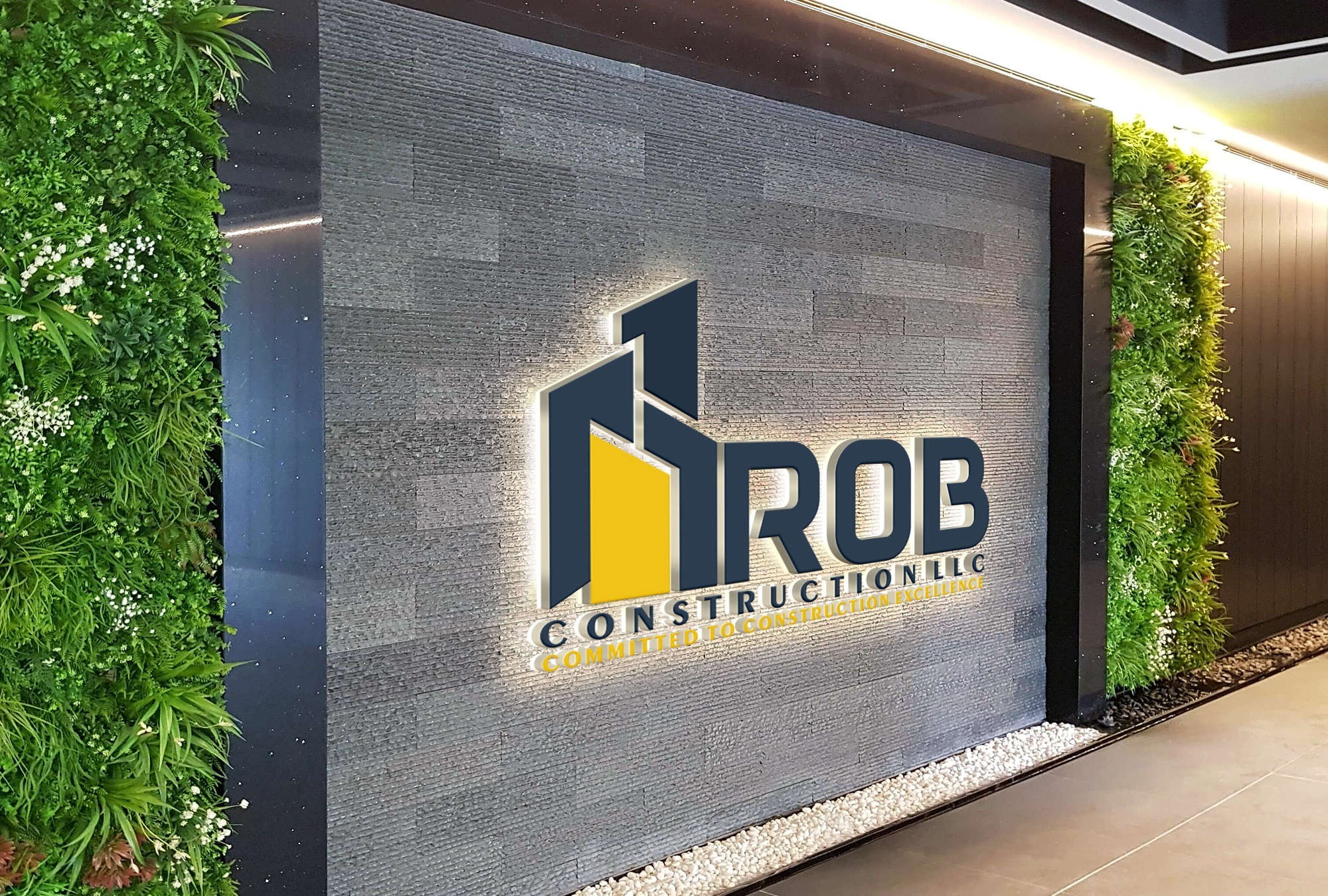 ROB construction logo on brick wall