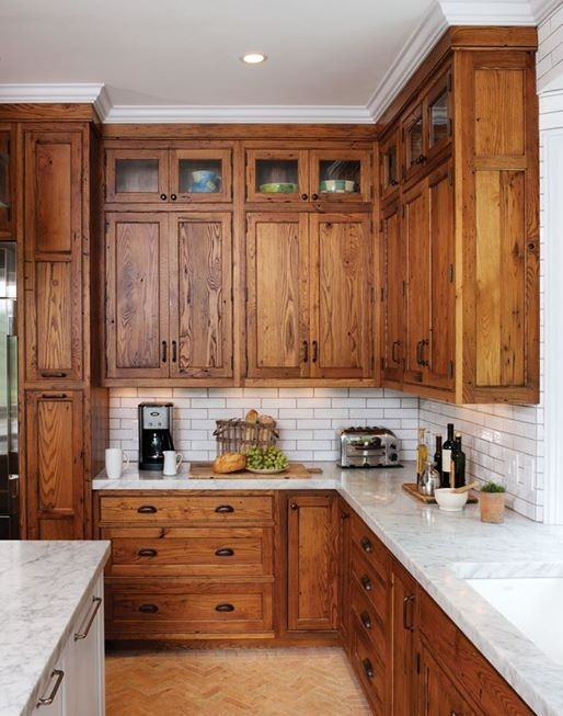 stain kitchen cabinets with a wood island