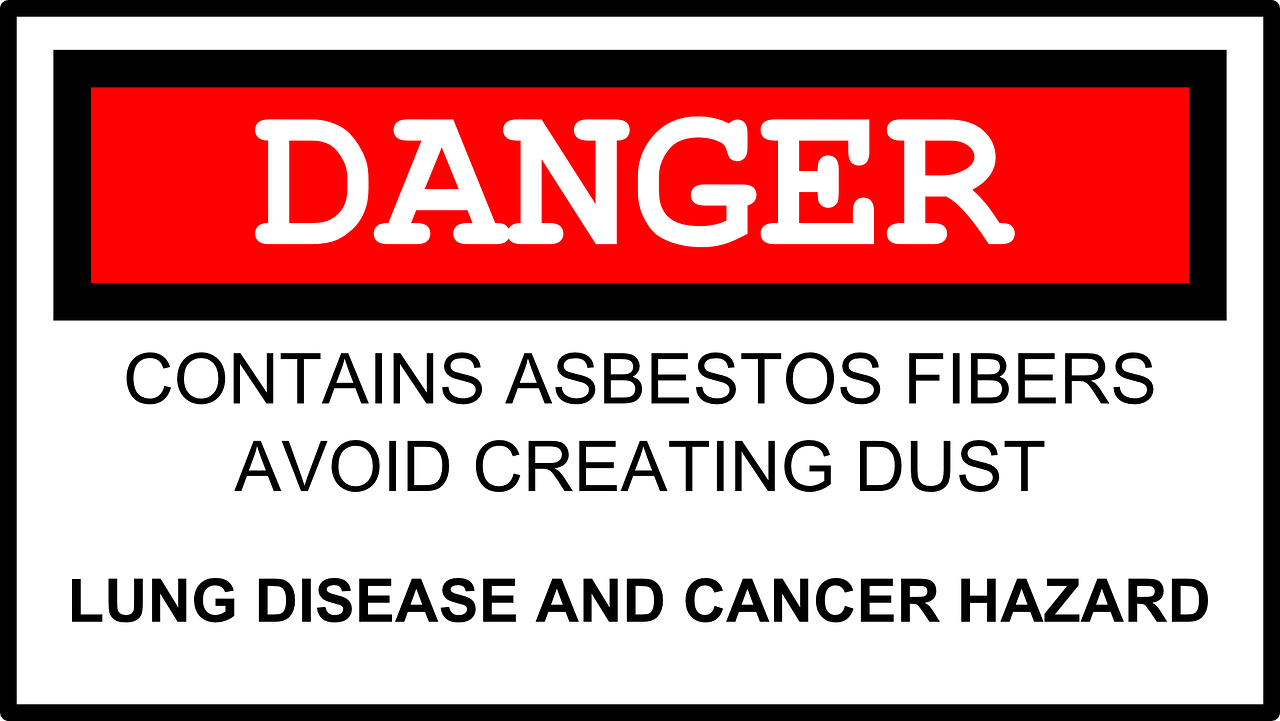 asbestos testing sign Danger
