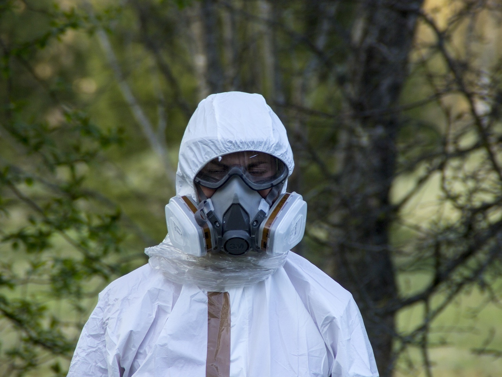 asbestos suit with mask