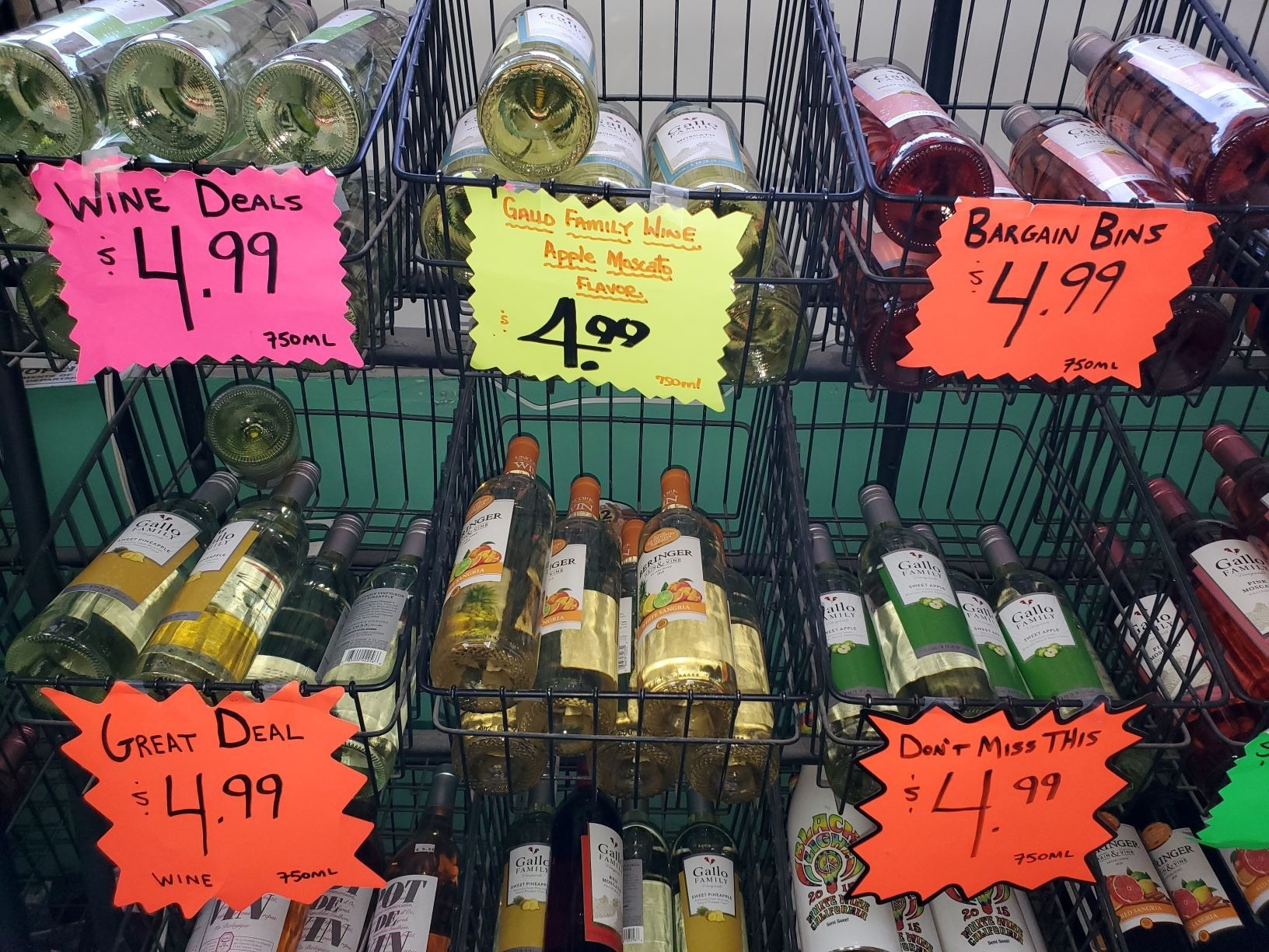 Bottles of Wine in baskets at On The Rox Liquors 4382 Bailey Ave in Buffalo New York