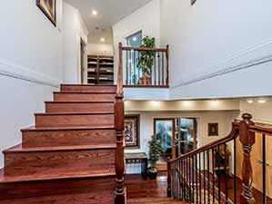 Staircase leading to upper floor Kamloops waterfront property