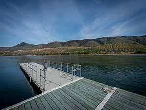 Kamloops waterfront dock looking west from dock