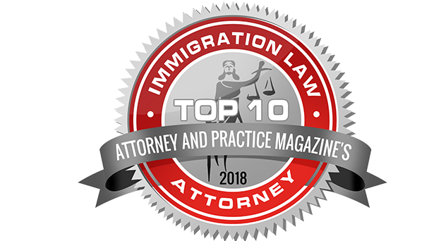 Attorney and Practice Magazine's top 10 immigration law attorney award