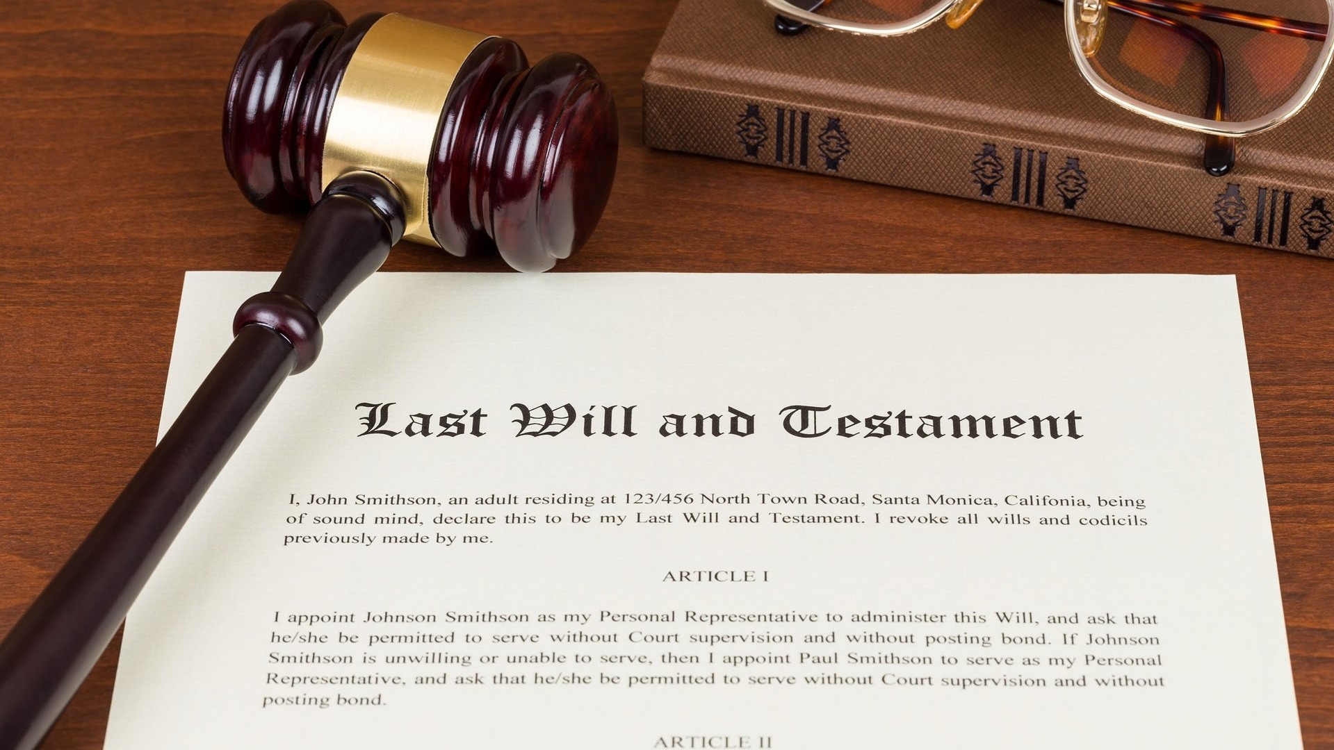Last Will and Testament with gavel on top