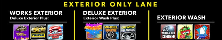 Various exterior wash packages