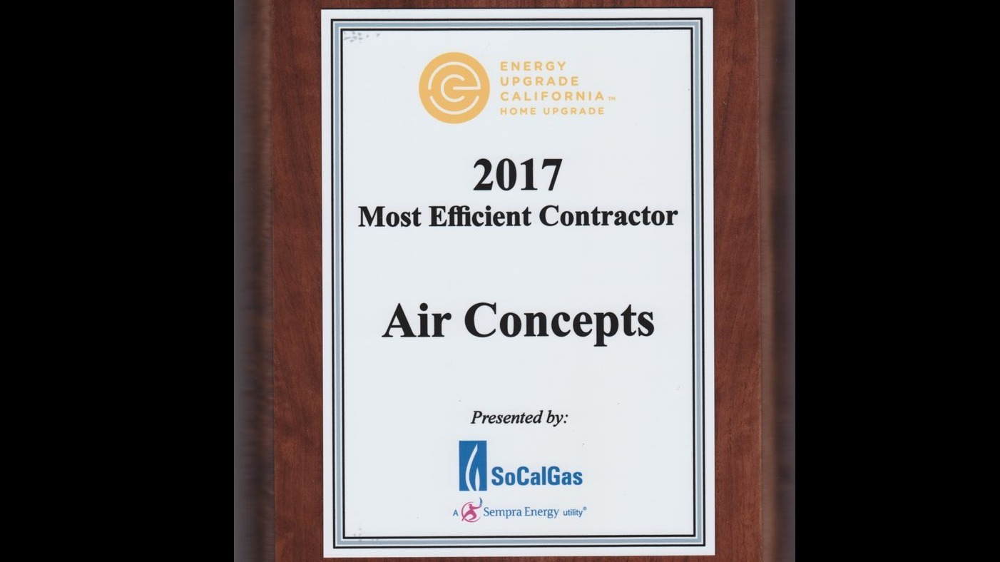 2017 Most Efficient Contractor Award Plaque