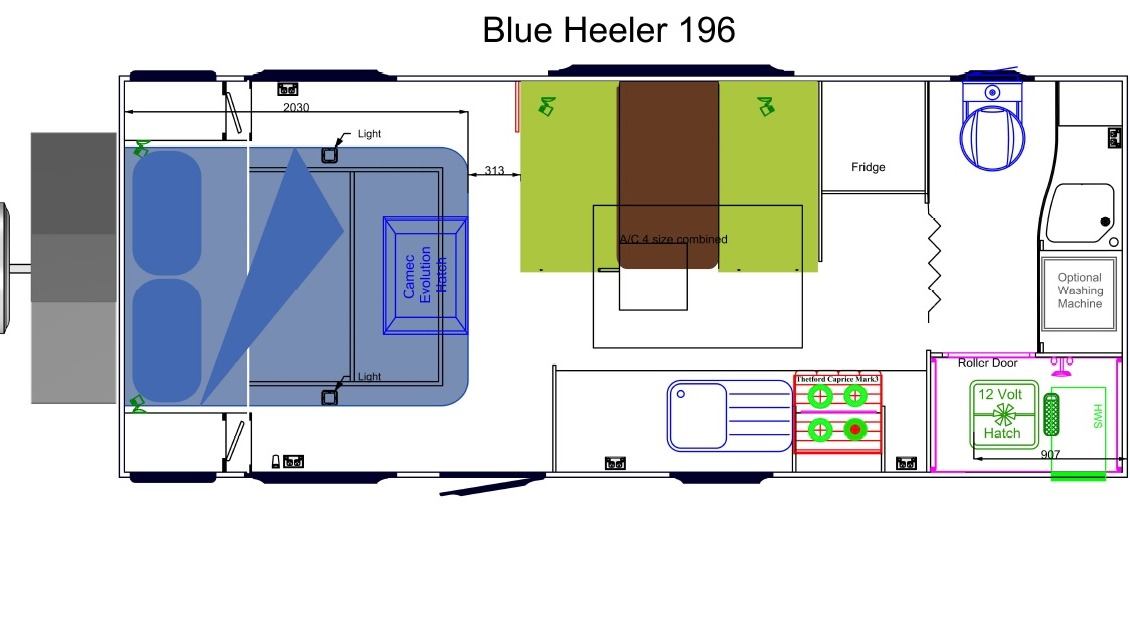 Sunland Blue Heeler MY19 Nineteen Foot Off Road Caravan Floor Plan